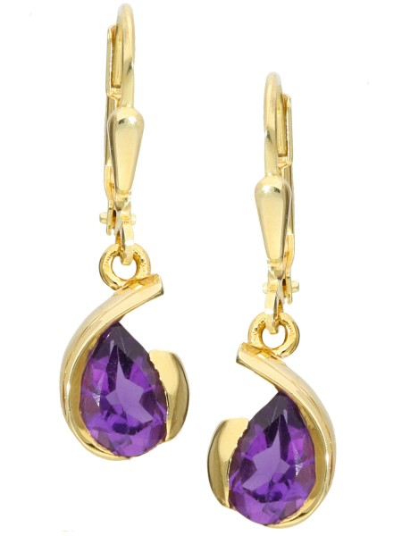 Purple Queen - Amethyst Edelsteinohrringe Gold