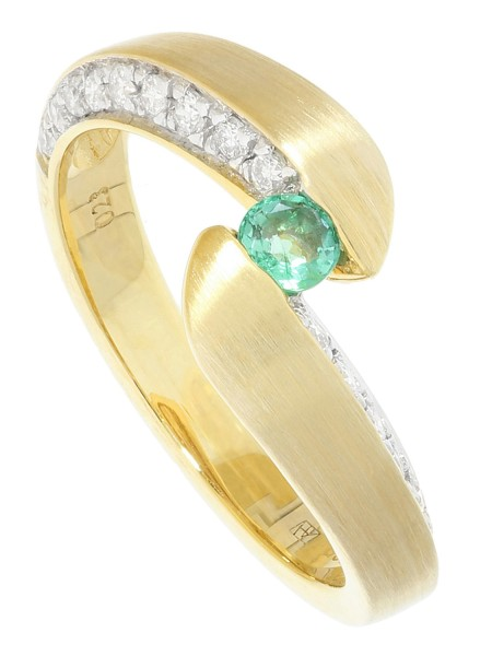 Fontaine - Diamant Smaragd Ring mit Edelstein Gold