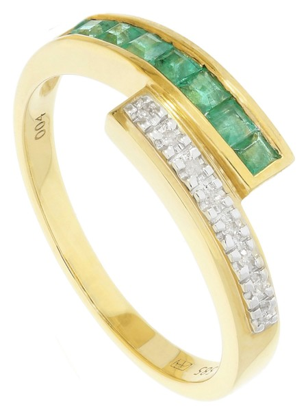 Morposa - Diamant Smaragd Ring mit Edelstein Gold